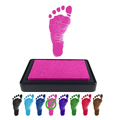 ReignDrop Ink Pad For Baby Footprints and Hand prints, Create Impressive Keepsake Stamp, Non-Toxic, Acid-Free Ink, Easy To Wipe and Wash Off Skin, Smudge Proof and Long Lasting Keepsakes (Pink)