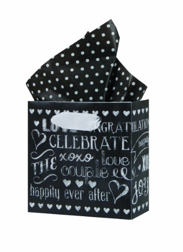 The Gift Wrap Company Square Gift Bags, Petite, Chalkboard Love, Pack of 12 (Shower Camera Message)