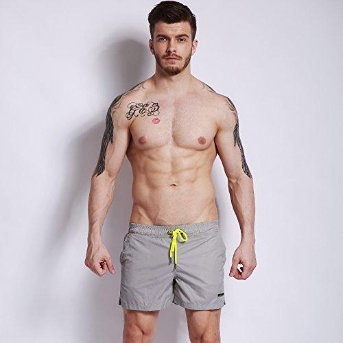 ZQ@QXCouleur solide Shorts hommes shorts de plage mer nager malles ,M,Frene