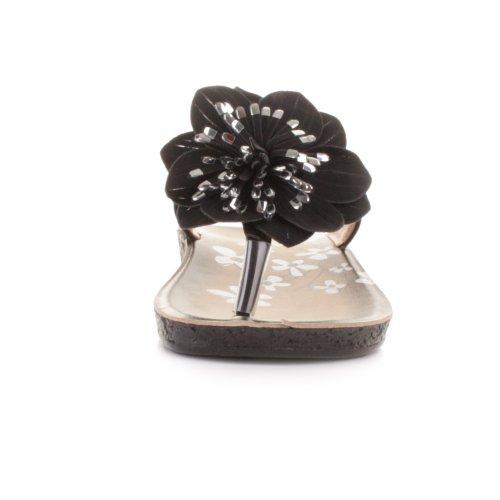 Infradito da donna confortevoli con fiori - Nero, EU 38