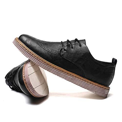 41 otoño Marron Negro al de Jusheng Brogue Oscuro Resistente los Zapatos Oxford Casual EU Invierno de Color Hombres Corbata Fondo tamaño Desgaste Negocio Gruesos YgwqUY1