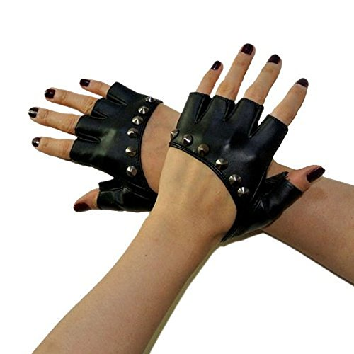 PU Leather Black Stud Punk Gothic Rock Fingerless Gloves Nightclub Costume Mitten