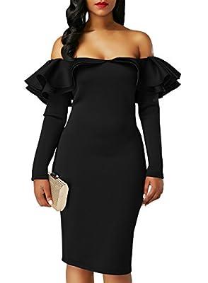 Sidefeel Women Long Sleeve Ruffle Off The Shoulder Bodycon Party Midi Dress
