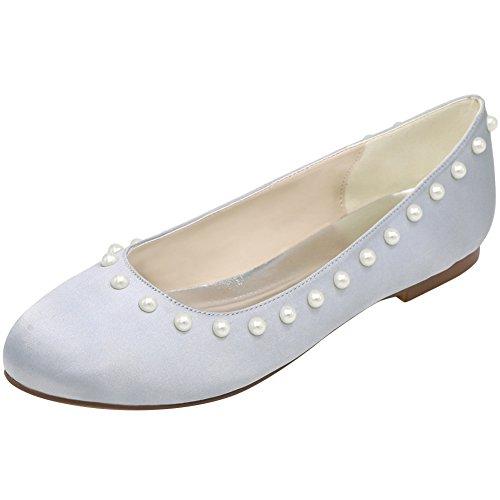 Loslandifen Vrouwen Gluren Teen Steentjes Flats Satijn Bruiloft Ballet Bruids Schoenen Lont