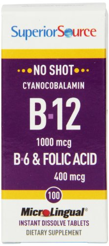 Superior Source No Shot Vitamin B6/Vitamin B12/Folic Acid Nutritional Supplements, 1000mcg/400 mcg, 100 Count
