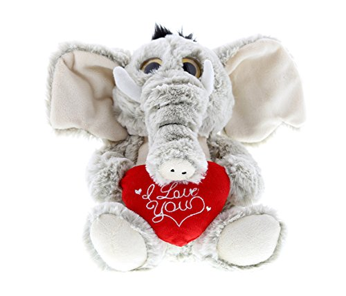 Dollibu Sitting Elephant Big Eye I Love You Valentines Stuffed Animal - Heart Message - 7 inch - Super Soft Plush - Item #K5189-5998