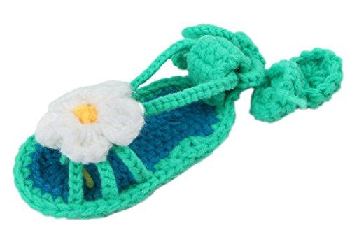 Bigood Strickschuh One Size Strick Schuh Baby Unisex süße Muster 11cm Grün Blüte