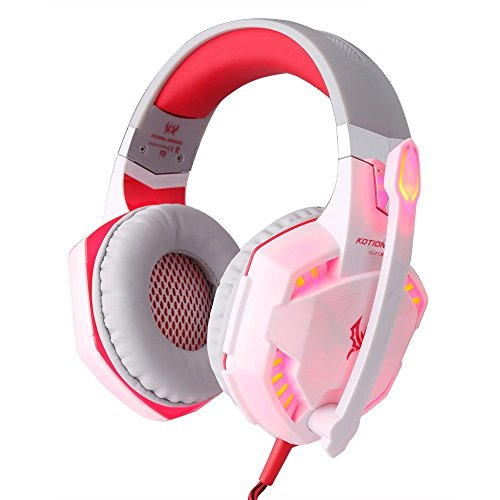 Cheap Lcyyo@ KOTION EACH G2000 3.5mm+USB Violent Resistance Gaming Headphone Over-ear Headset with Microphone LED Light (White & Red)