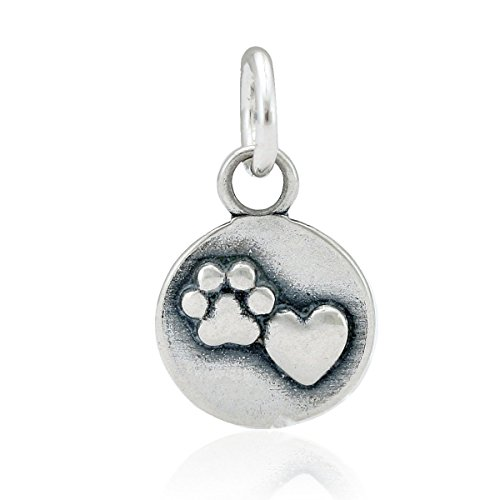 Sterling Silver Mini Heart and Dog Paw Print (Paw Print Heart Charm)