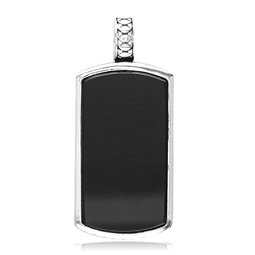 Sziro Hardcore Metal Reversible Black Onyx and Python Reptile Texture Dog Tag Pendant in Sterling Silver