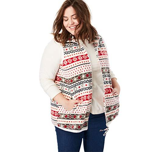Woman Within Plus Size Zip-Front Microfleece Vest - Fair Isle, ()