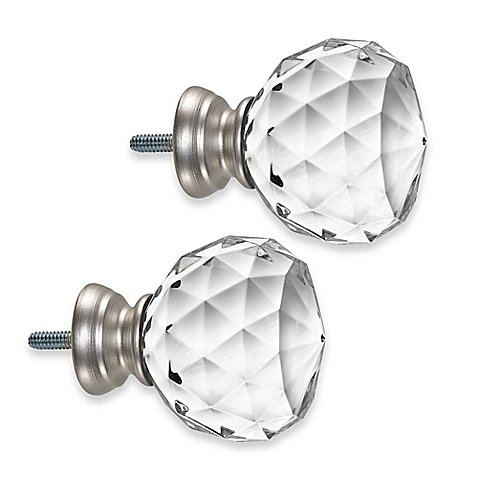 Cambria Premier Complete Faceted Ball Finials in Brushed Nickel (Set of 2) 46236487