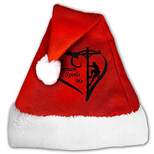 FQWEDY My Lineman Spoils Me Unisex-Adult's Santa Hat, Velvet Christmas Festival -