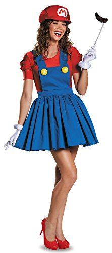 Mario And Luigi Costumes For Women (num&liky Ladies Mario and Luigi 80s Plumbers Videogame TV Film Fancy Dress Costumes Party Outfits (XXL, red))