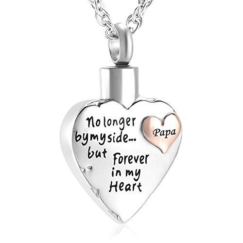 Dad no longer by my side but Forever in my Heart Cremation Urn Neckalce Memorial Pendant Free Engraving (Papa)