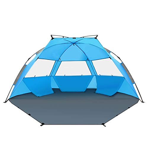 - TAGVO Pop Up Beach Tent Sun Shelter Easy Set Up Tear Down, Portable Instant Beach Baby Canopy Lightweight 4.7 Pounds, UPF 50 Plus Sun Protection 3 Mesh Screen Windows Good Ventilation Sports Sun Shade