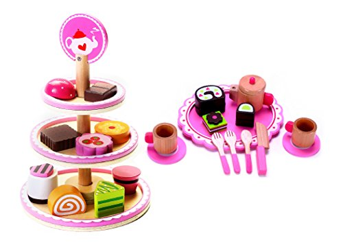 The Ultimate Tea Party Set for Toddlers, Preschool Age | Cute Wooden Play Food Dessert Stand & Tea Set, with Tea Kettle Pot, Cups & Saucers, Pastries to Slice & Serve | Buy the Bundle & Save! by Cubbie Lee