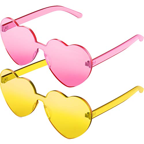 Maxdot 2 Pack Heart Shape Sunglasses Party Sunglasses (Pink and ()