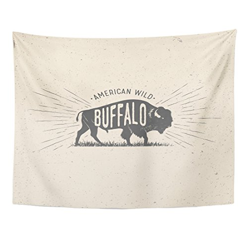 (TOMPOP Tapestry Bison Wild Buffalo Vintage Styled of The American Bull Home Decor Wall Hanging for Living Room Bedroom Dorm 60x80 Inches)