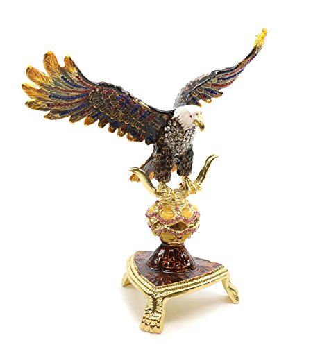 Faberge Box Decorative Enameled Figurines, 24K Gold Trinket Jewelry Box with Swarovski Crystal (Brown Eagle)