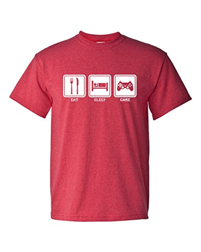 Eat Sleep Game Video Game Controller Funny Adult Mens Super Soft T-Shirt (Medium, Heather (Red Super Soft T-shirt)