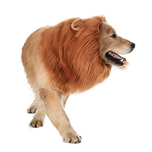 Idahar Dog Lion Mane, Dog Costume Adjustable Lion Wig with Ears for Medium Large Dogs, Fancy Lion Hair Dog Clothes Dress for Halloween Christmas Easter Festival Cosplay Party -