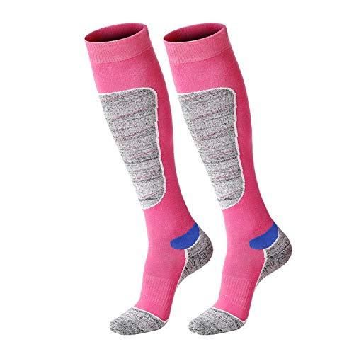 SWOLF Ski Socks Women, Padded Warm Ultra Light Cushion Snowboard Skiing Socks - Knee-High Moisture Wicking Terry Compression Outdoor Hiking Socks (Rose Red, US 6-9) (Pink Snowboard Boots)