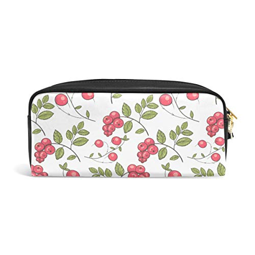 Pencil Case Big Capacity Pencil Bag Makeup Pen Pouch Vintage Red Cranberry Durable Students Stationery Pen Holder for School/Office