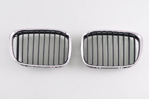 Wotefusi Car New Left & Right 2 Pieces Set Chrome Color Frame Middle Center Grille Grill With Black Slats For BMW 5 Series 525i 530i 2000-2003 2001 2002 528i 1996-2000 1997 1998 1999 540i 1998-2003 ()