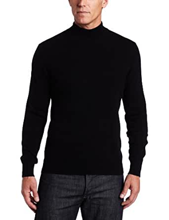 Williams Cashmere Men's 100% Cashmere Long Sleeve Mock Neck Sweater, Black, Medium
