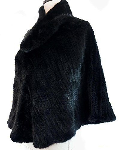 (surell Black Mink Fur Poncho - Real Fur Cape Wrap - Warm Autumn Winter Fashion - Perfect Elegant Shawl Luxury)