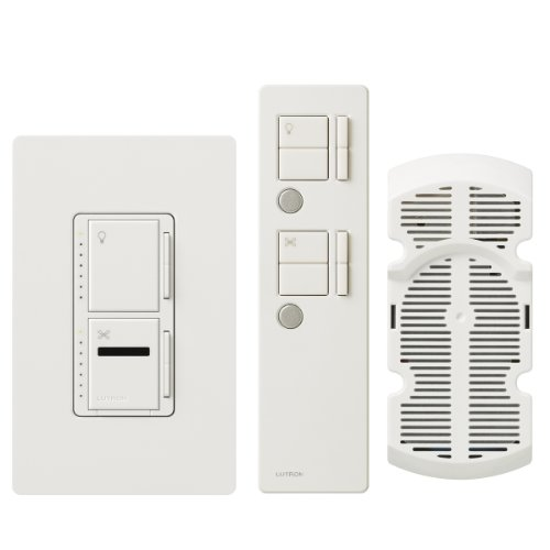 Lutron MIR-LFQTHW-WH Maestro IR 300-watt Single Pole Fan and Light Control Kit, White - Maestro Ir Dimmer