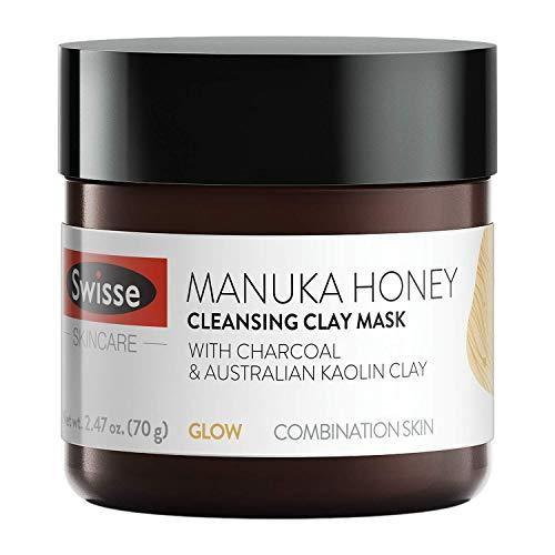 Swisse Natural Skincare Manuka Honey Australian Kaolin Clay Face Mask | For Combination Skin | Cleanses, Purifies, Hydrates | Charcoal, Norwegian Kelp & Red Algae, and Aloe Vera Extract | 2.47 Oz