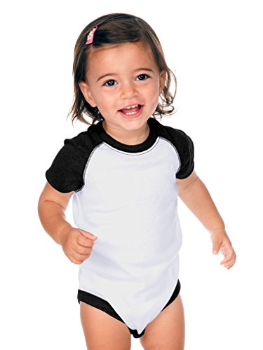 Kavio! Unisex Infants Raglan Short Sleeve Bodysuit (Same I1C0190) White/Black 12M