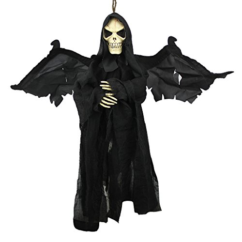Halloween Scary Flying Ghost Animated Skeletonwith Sound & Glowing Red Eyes Hanging Bat Shape Horror Grim Reaper Skull Vampire with Wings Halloween Party Haunted House Props Bar Club KTV Ornament]()