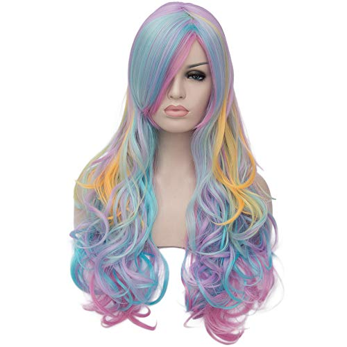 (OneUstar Women's Multicolor Wig Synthetic Long Curly Full Wigs Colorful Rainbow Wig for Cosplay Party Wig with Wig)