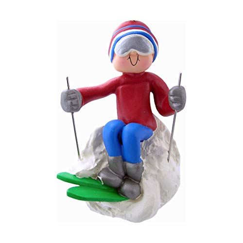 Personalized Skier Christmas Tree Ornament 2019 - Athlete Red Winter Outfit Snow Alpine Downhill Sport Active Olympic Paralympic Game Ride Slope Teacher Hobby Boy Girl Male - Free Customization