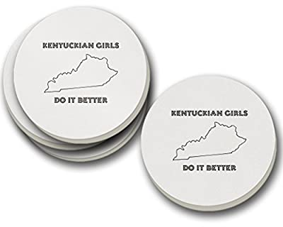 Kentuckian Girls Do It Better Kentucky Sandstone Coasters Round Set of 4