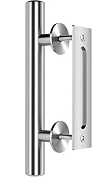 """Premium Stainless Steel Modern Barn Door Handle 12"""" Pull and Flush Set by Dreamline Products - for Interior Sliding Doors"""