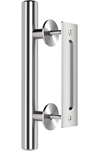 12 Inch White Handle (Premium Stainless Steel Modern Barn Door Handle 12