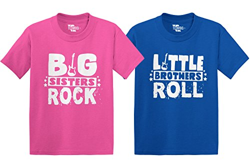 Sisters Big Rock (Big Sisters Rock/Little Brothers Roll Toddler/Infant T-Shirt 2 Pack (Pink/Royal, 4T/24 Months))