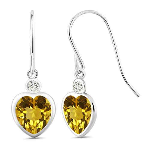 925 Sterling Silver Dangle Earrings Heart Shape Yellow Citrine and Forever Classic Created Moissanite 0.20ct (DEW) by Charles & Colvard