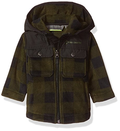 - Free Country Baby Boys Toddler Buffalo Plaid Fleece Hoody, Canteen, 18 MOS