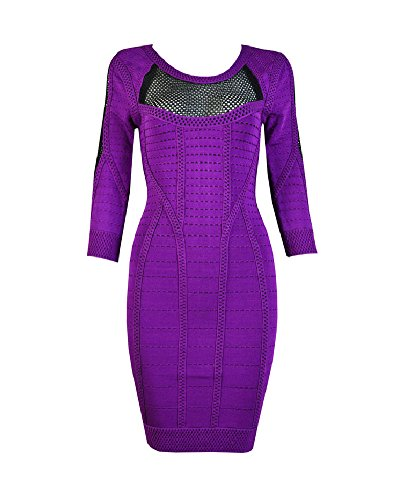 Whoinshop Women's Rayon 3/4 Sleeve Bodycon Bandage Evening Mini Dress Purple M by Whoinshop