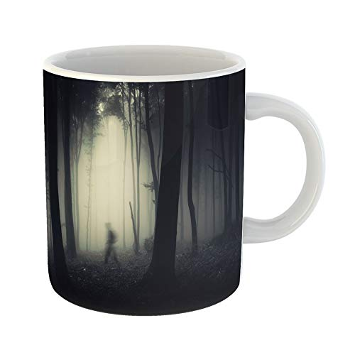 (Emvency Coffee Tea Mug Gift 11 Ounces Funny Ceramic Blue Ghost Ghostly Figure in Dark Spooky Forest Halloween Scene Horror Gifts For Family Friends Coworkers Boss)
