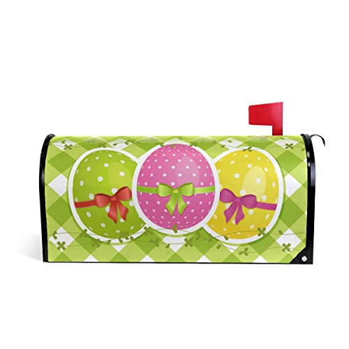 WIHVE Mailbox Cover Magnetic Easter Eggs On Green Gingham Border Standard Post Box Wraps Large 26
