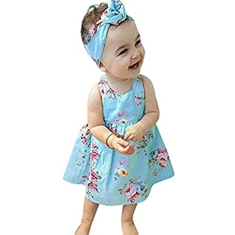 bee on cee Baby Floral Printing Princess Dress - Blue, 4T