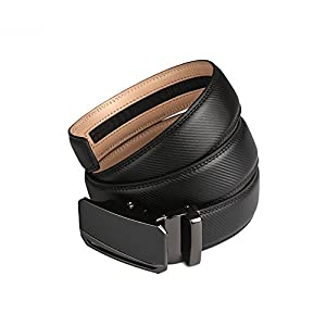 28″-60″ Men's Black Leather Dress Belt jeans Ratchet belts for men big and tall