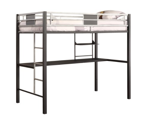 DHP Screen Loft Metal Bunk Bed with Desk and Ladder, Space-Saving Design, Silver by DHP
