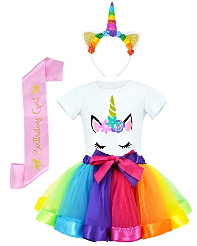 Rainbow Costume Child (JiaDuo Girls Costume Rainbow Tutu Skirt with Unicorn Shirt, Headband & Satin Sash Rainbow)